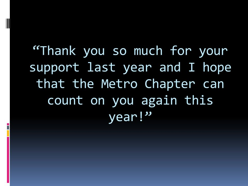 Thank you so much for your support last year and I hope that the Metro Chapter can count on you again this year!