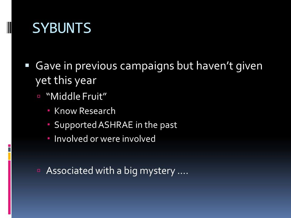 SYBUNTS Gave in previous campaigns but havent given yet this year Middle Fruit Know Research Supported ASHRAE in the past Involved or were involved As