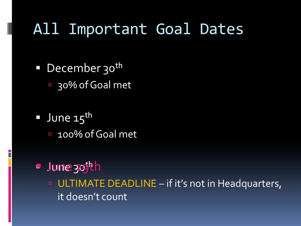 All Important Goal Dates December 30 th 30% of Goal met June 15 th 100% of Goal met June 30 th ULTIMATE DEADLINE – if its not in Headquarters, it doesnt count June 29th