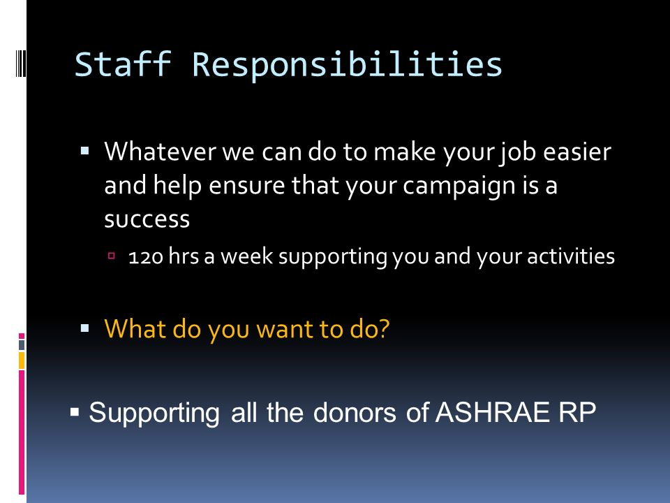 Staff Responsibilities Whatever we can do to make your job easier and help ensure that your campaign is a success 120 hrs a week supporting you and yo