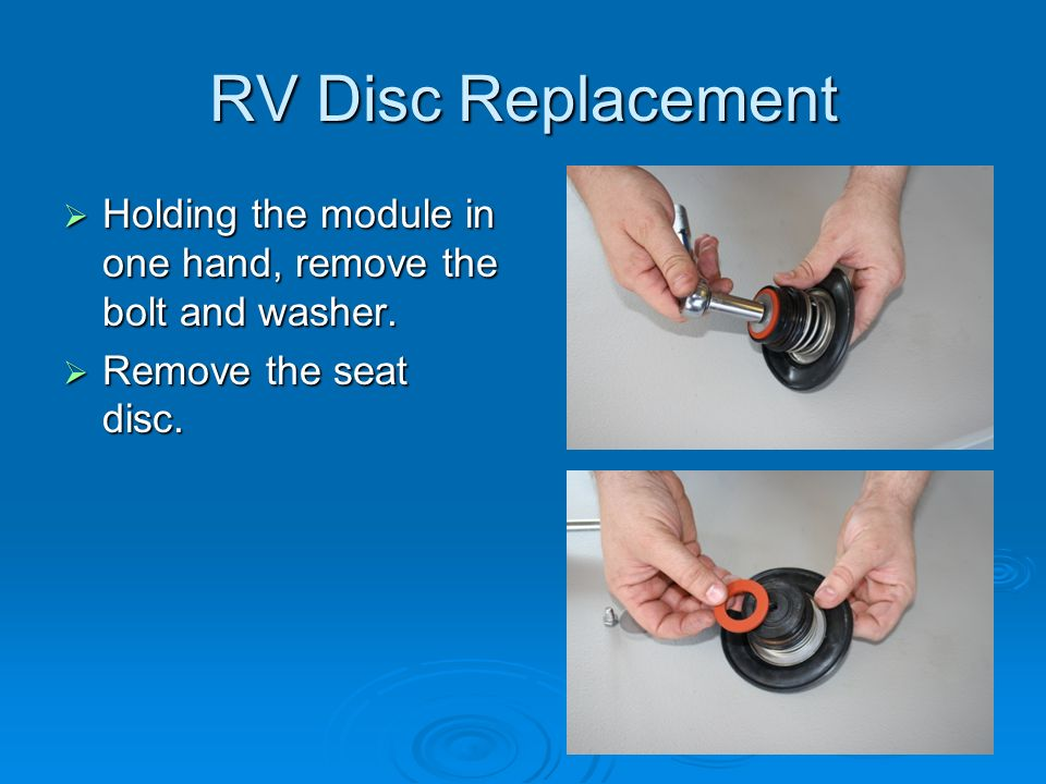 RV Disc Replacement Holding the module in one hand, remove the bolt and washer.