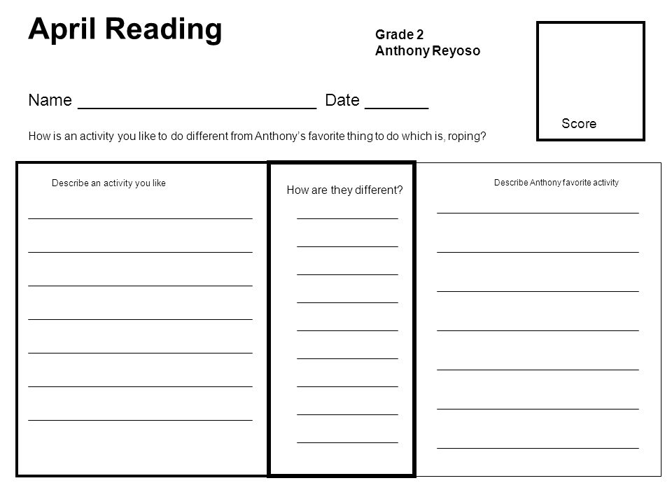 April Reading Grade 2 Anthony Reyoso How are they different? Describe an activity you like Name __________________________ Date _______ How is an acti