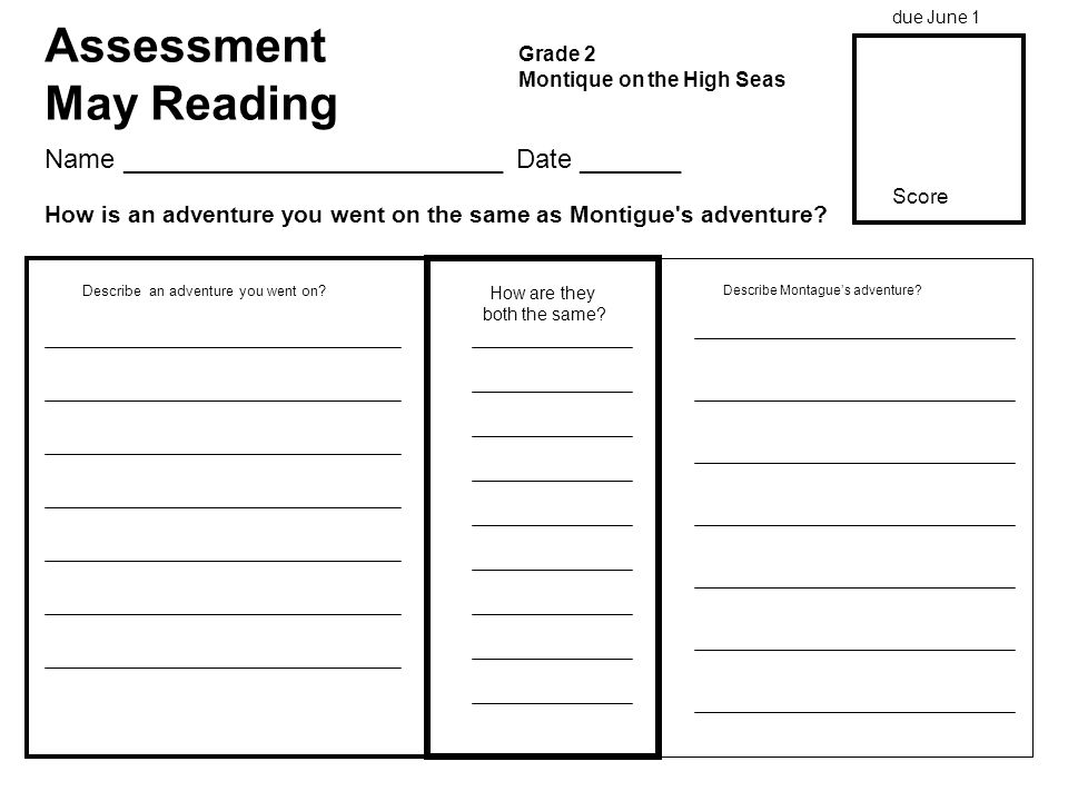Assessment May Reading Grade 2 Montique on the High Seas How are they both the same.