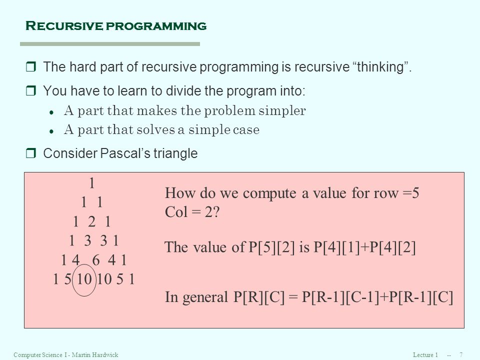 Lecture Computer Science I - Martin Hardwick Recursive programming rThe hard part of recursive programming is recursive thinking.