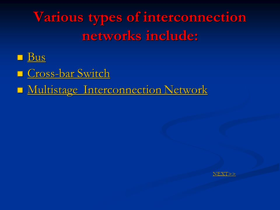 Various types of interconnection networks include: Bus Bus Bus Cross-bar Switch Cross-bar Switch Cross-bar Switch Cross-bar Switch Multistage Intercon