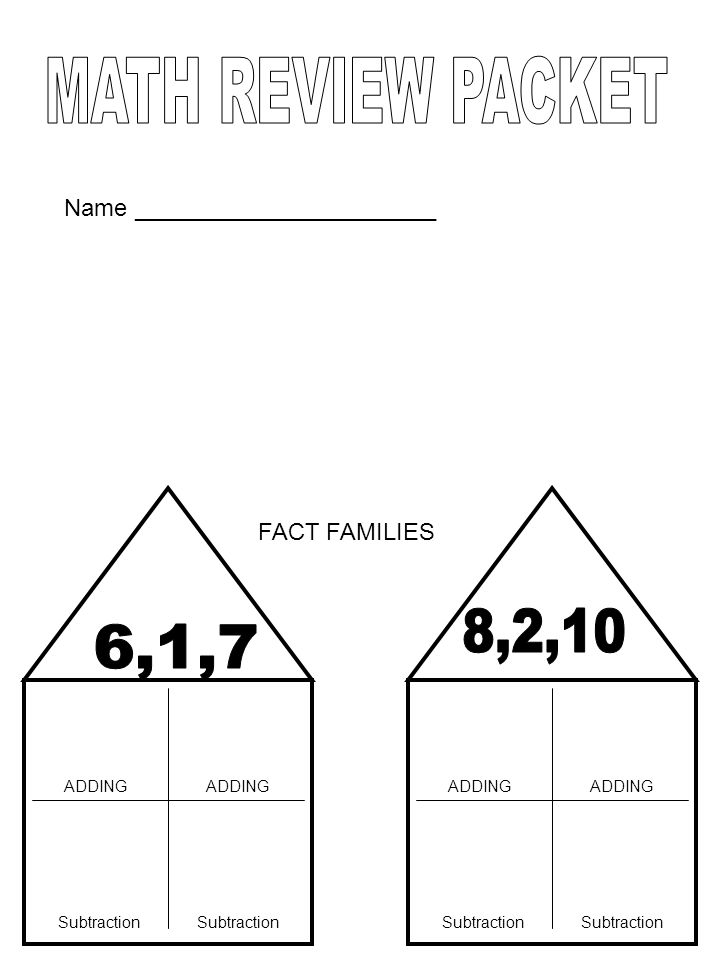 FACT FAMILIES ADDING Subtraction ADDING Subtraction