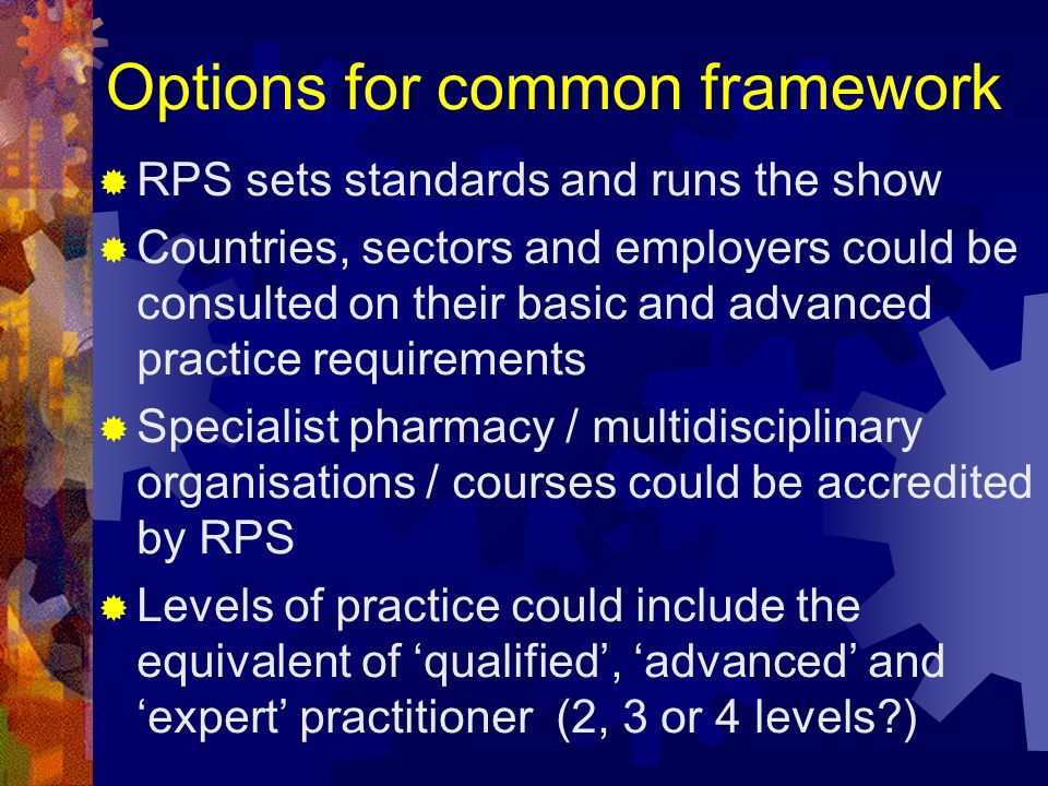 Options for common framework RPS sets standards and runs the show Countries, sectors and employers could be consulted on their basic and advanced prac