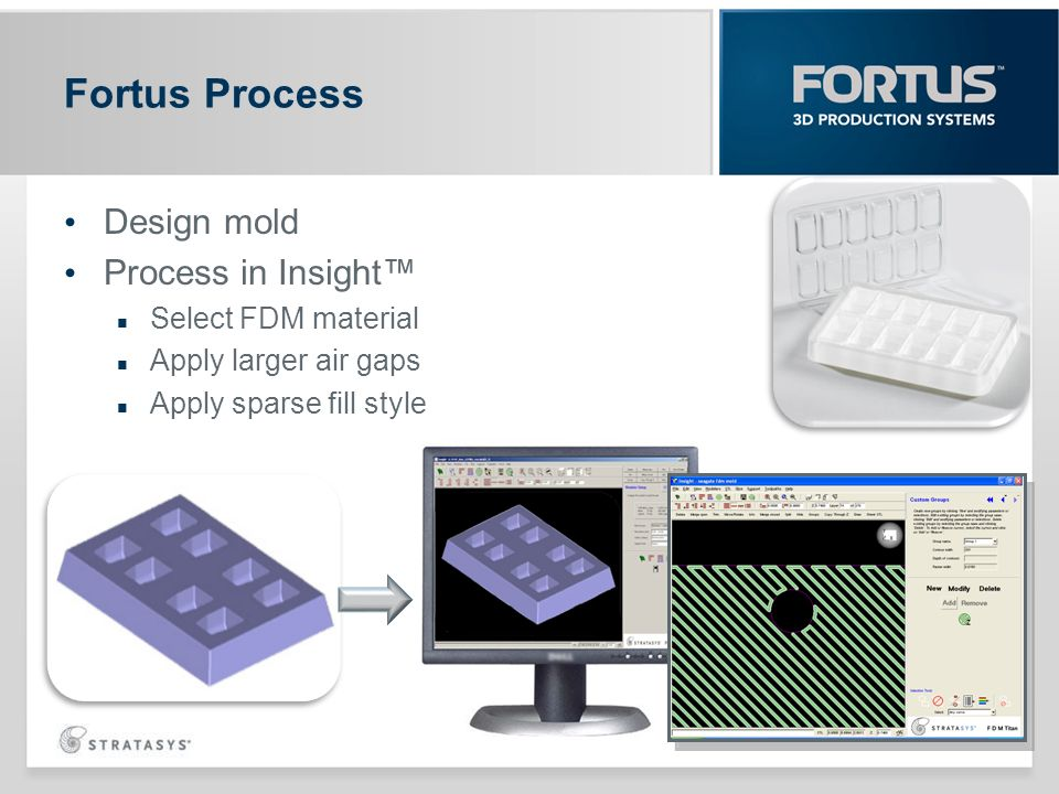 Design mold Process in Insight Select FDM material Apply larger air gaps Apply sparse fill style Fortus Process