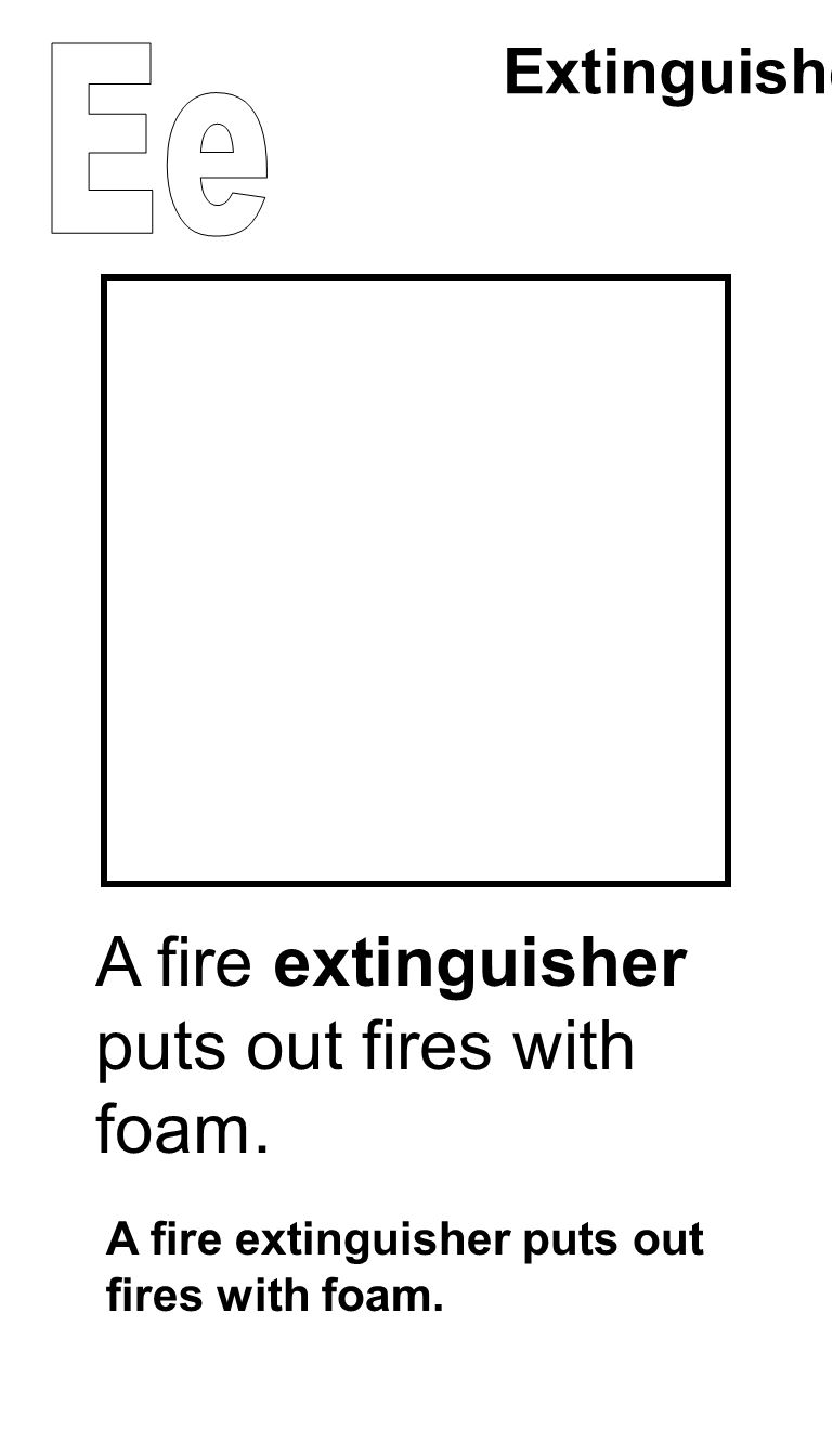 A fire extinguisher puts out fires with foam. Extinguisher A fire extinguisher puts out fires with foam.