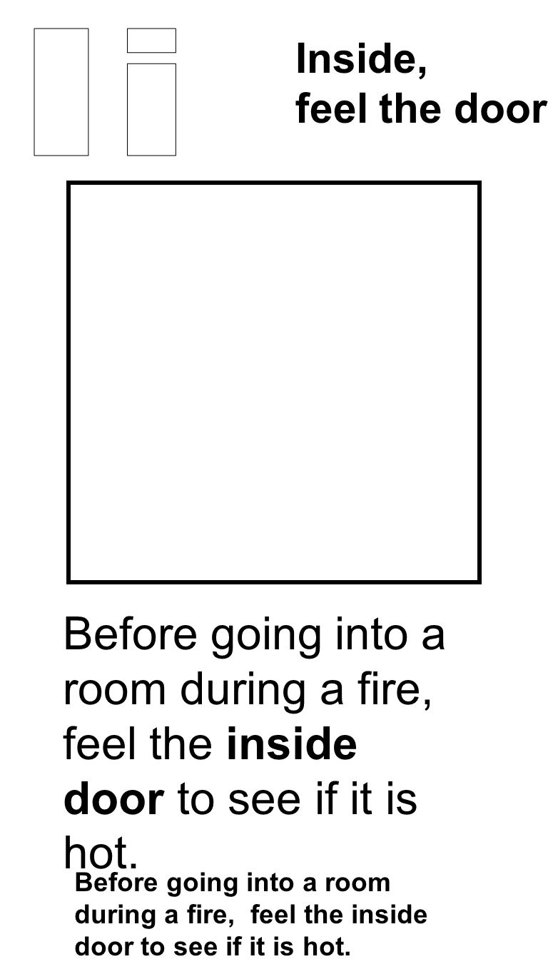 Before going into a room during a fire, feel the inside door to see if it is hot. Inside, feel the doors