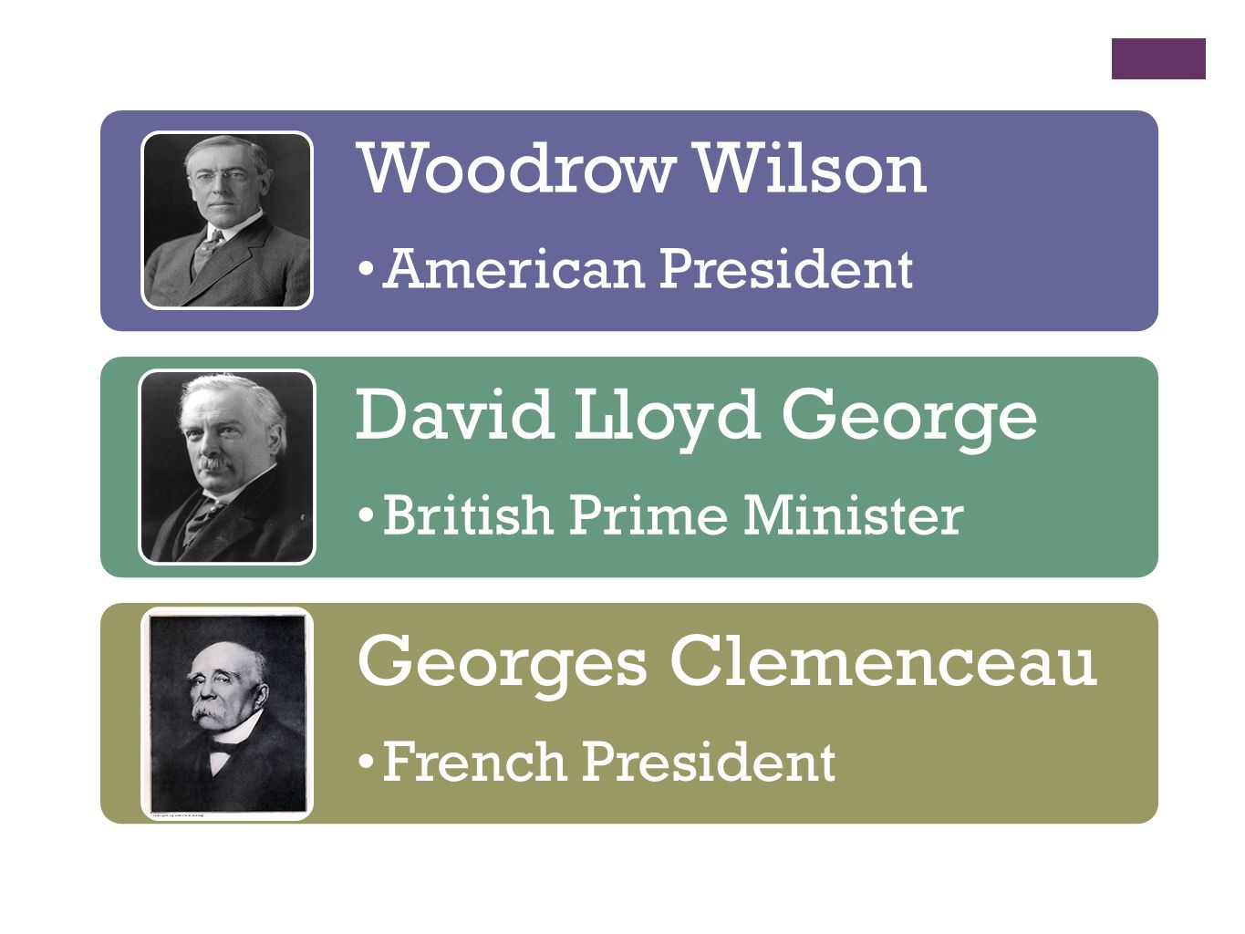 Woodrow Wilson American President David Lloyd George British Prime Minister Georges Clemenceau French President