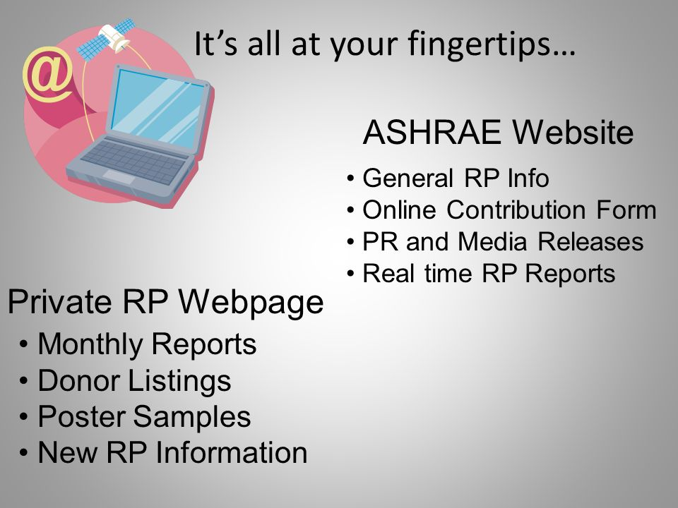 Its all at your fingertips… Private RP Webpage Monthly Reports Donor Listings Poster Samples New RP Information ASHRAE Website General RP Info Online Contribution Form PR and Media Releases Real time RP Reports