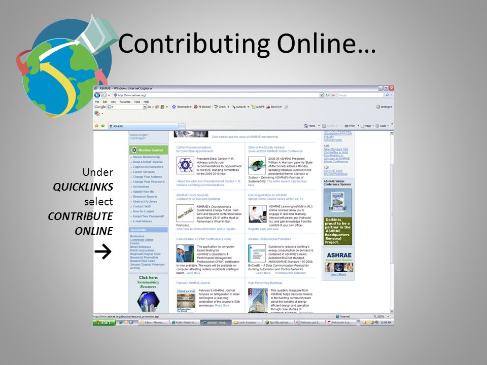 Contributing Online… Under QUICKLINKS select CONTRIBUTE ONLINE