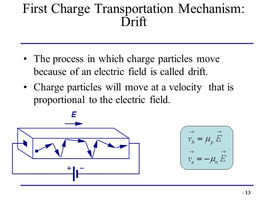 - 13 First Charge Transportation Mechanism: Drift The process in which charge particles move because of an electric field is called drift. Charge part