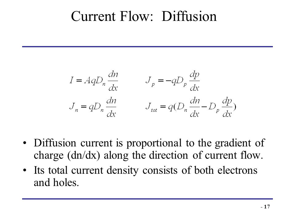 - 17 Current Flow: Diffusion Diffusion current is proportional to the gradient of charge (dn/dx) along the direction of current flow. Its total curren