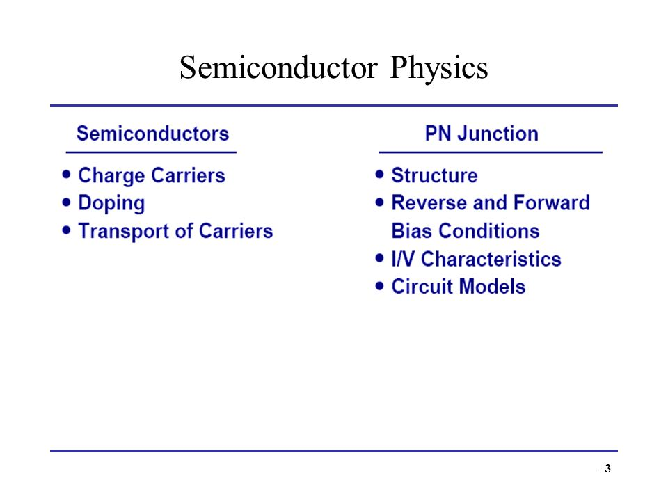 - 3 Semiconductor Physics Semiconductor devices serve as heart of microelectronics. PN junction is the most fundamental semiconductor device.
