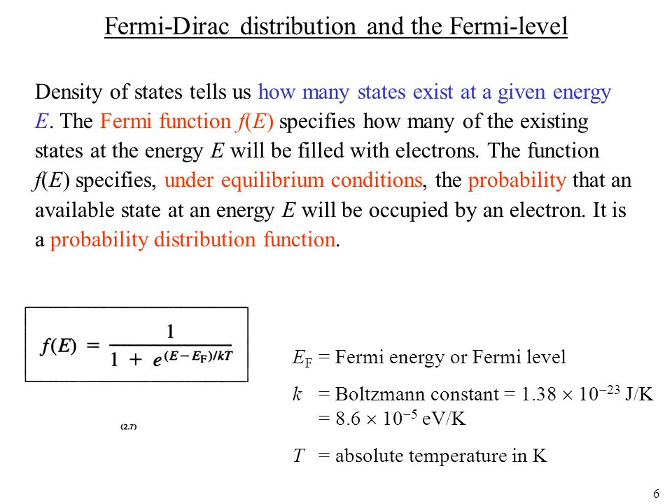 6 Fermi-Dirac distribution and the Fermi-level Density of states tells us how many states exist at a given energy E. The Fermi function f(E) specifies