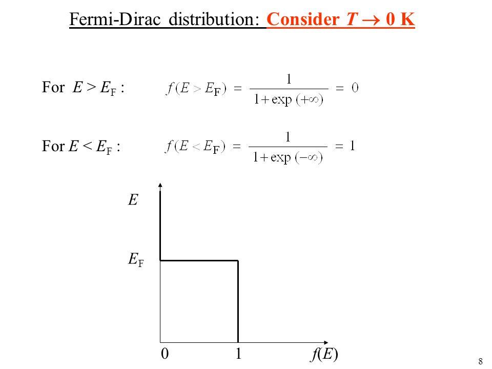 8 Fermi-Dirac distribution: Consider T 0 K For E > E F : For E < E F : EEFEEF 0 1 f(E)