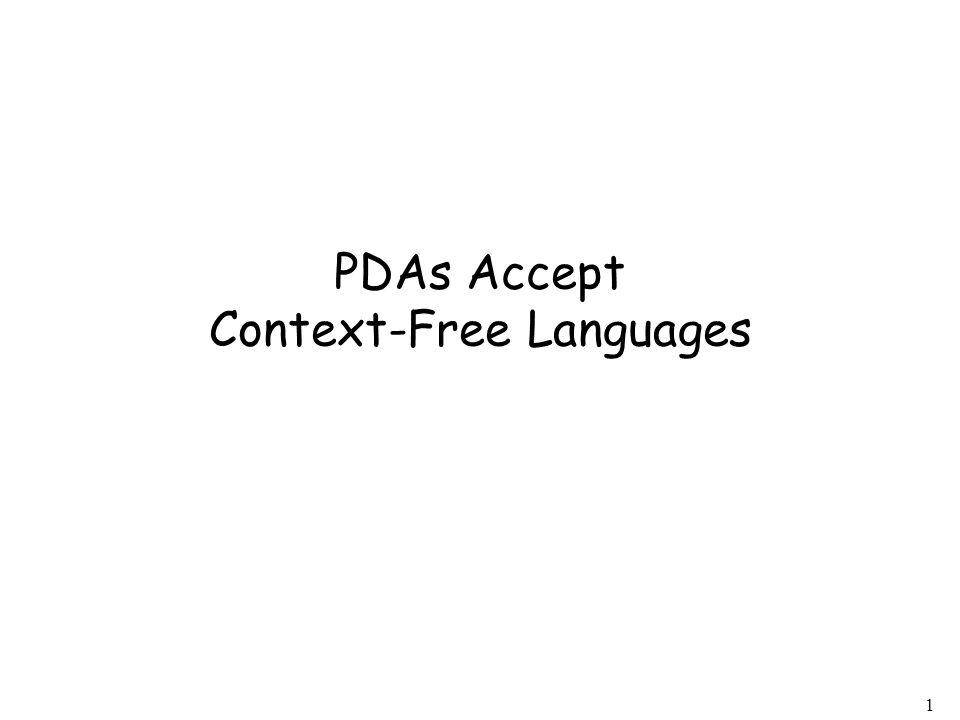 1 PDAs Accept Context-Free Languages