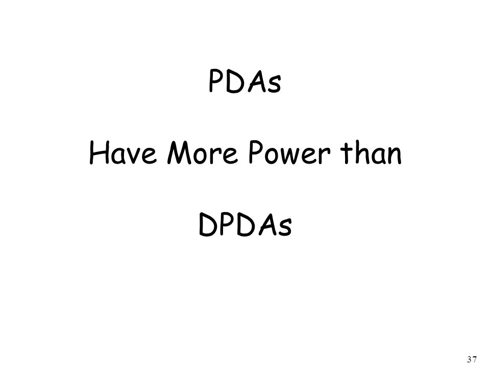 37 PDAs Have More Power than DPDAs