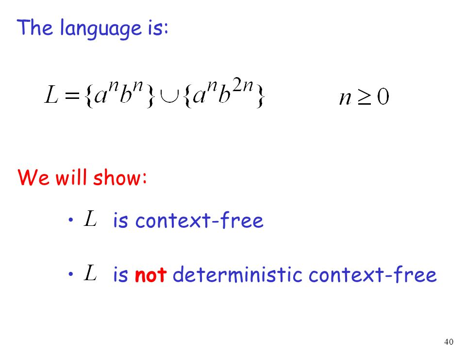 40 The language is: We will show: is context-free is not deterministic context-free