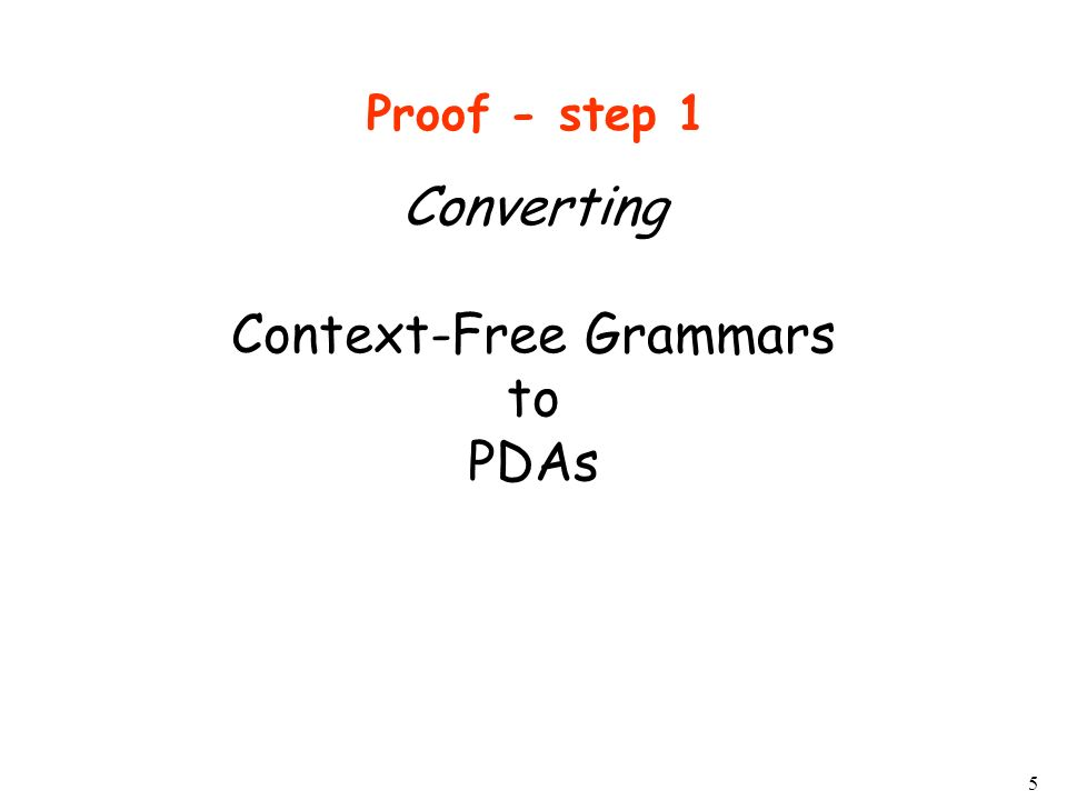 5 Converting Context-Free Grammars to PDAs Proof - step 1