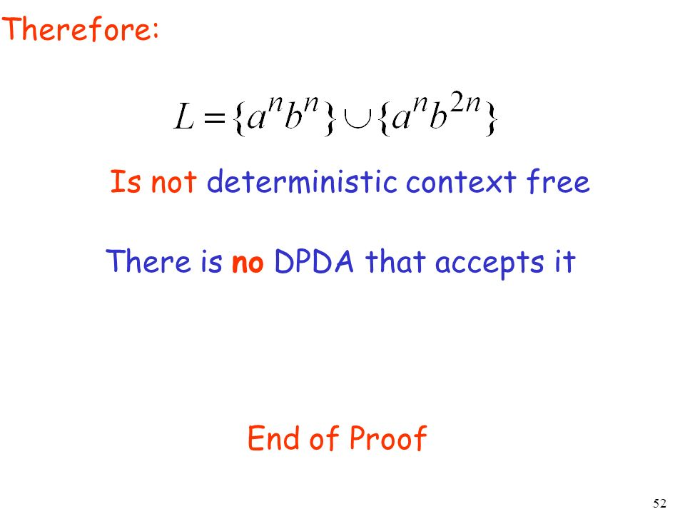 52 Therefore: There is no DPDA that accepts it End of Proof Is not deterministic context free