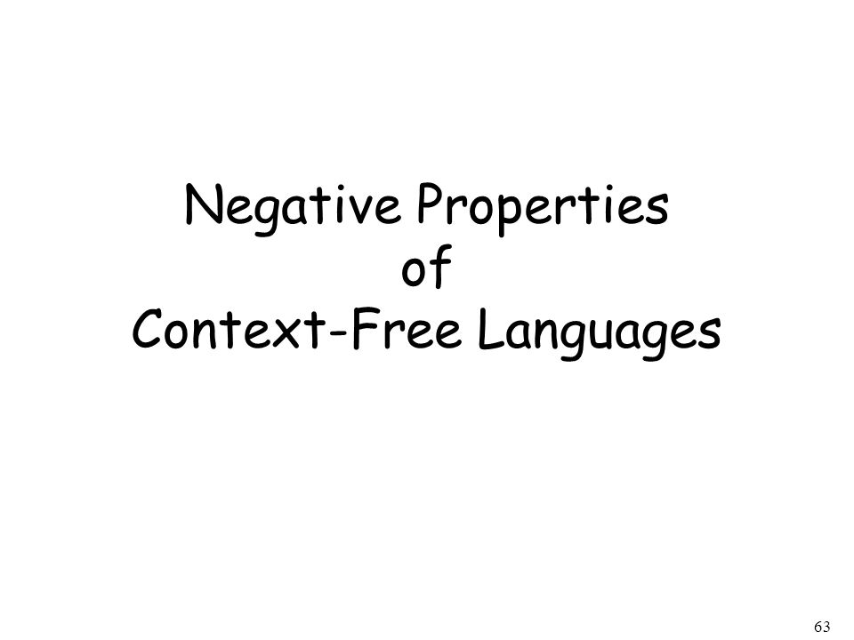 63 Negative Properties of Context-Free Languages
