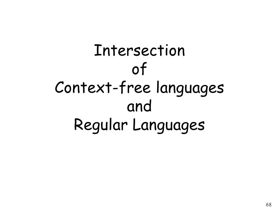 68 Intersection of Context-free languages and Regular Languages