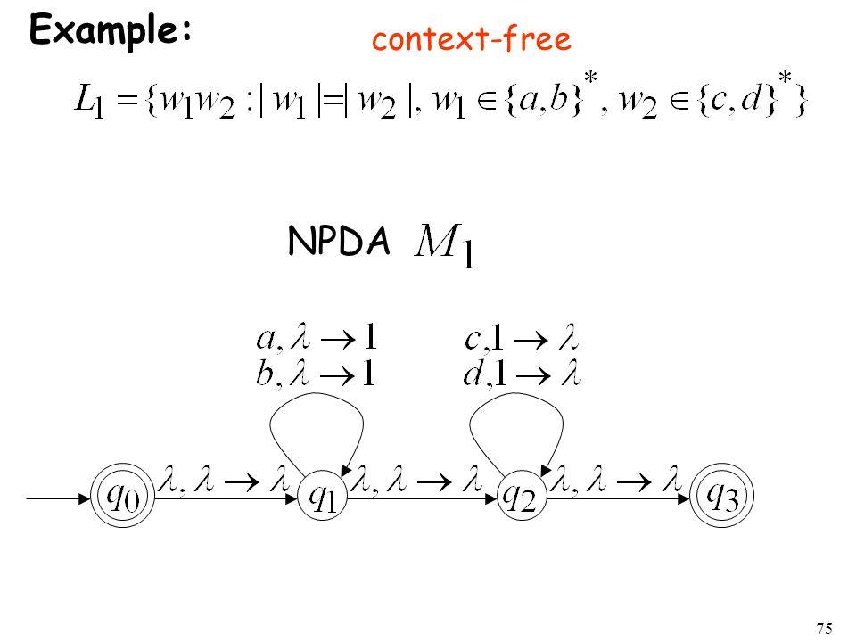 75 Example: NPDA context-free