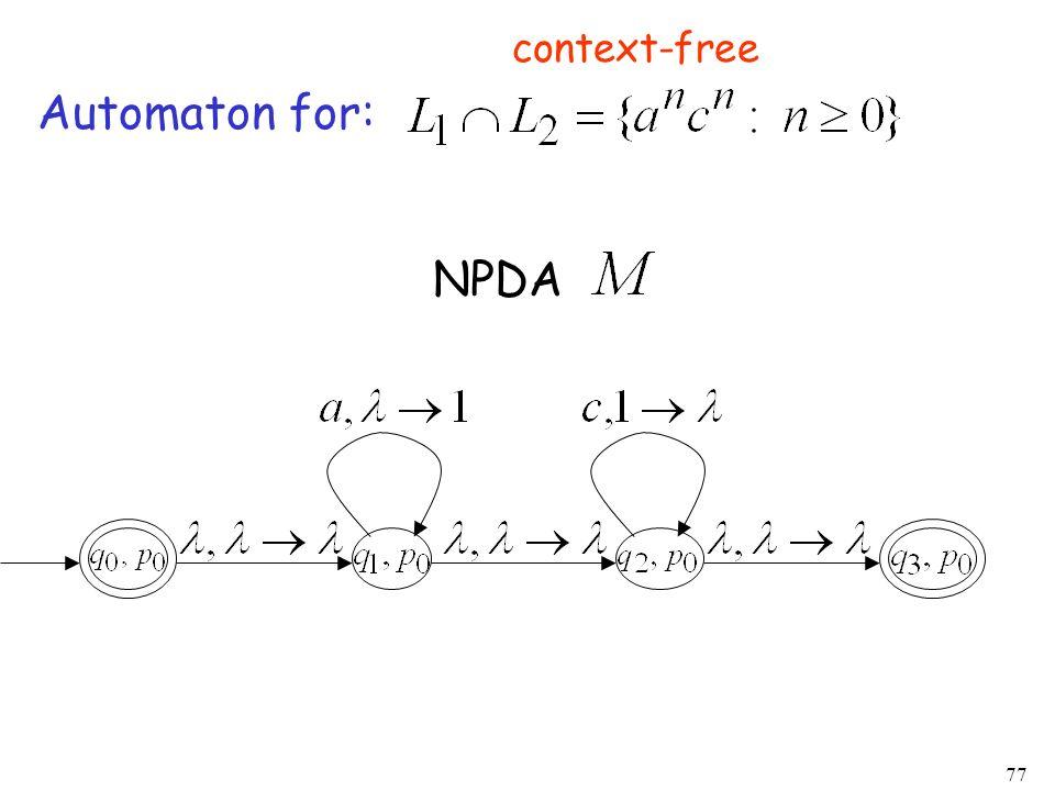 77 Automaton for: NPDA context-free