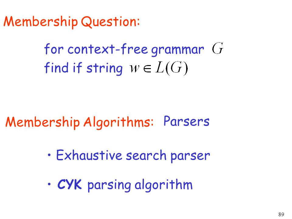 89 Membership Question: for context-free grammar find if string Membership Algorithms: Parsers Exhaustive search parser CYK parsing algorithm