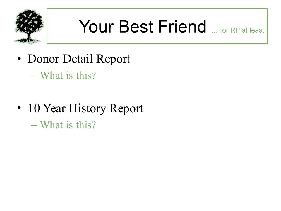 Your Best Friend … for RP at least Donor Detail Report –What is this.