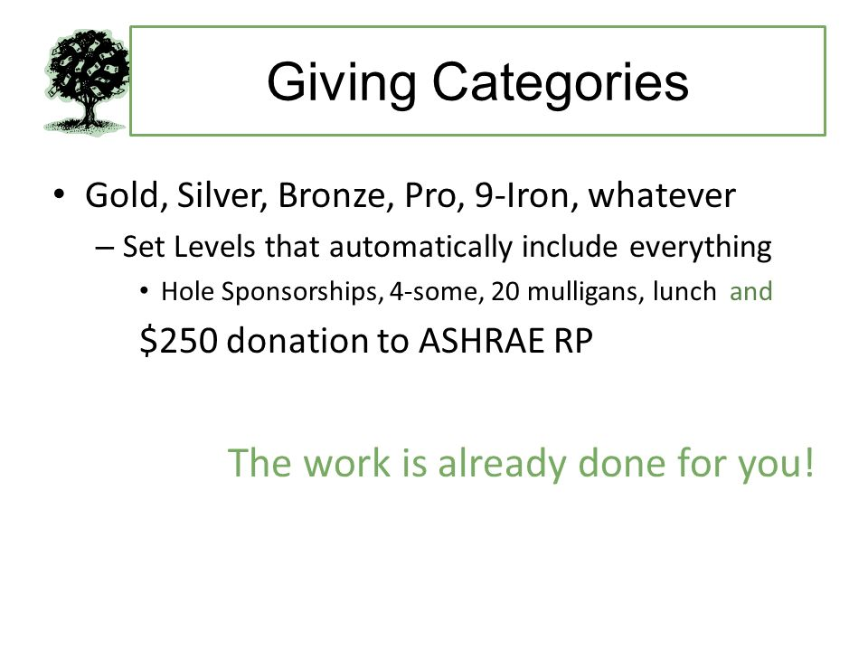 Giving Categories Gold, Silver, Bronze, Pro, 9-Iron, whatever – Set Levels that automatically include everything Hole Sponsorships, 4-some, 20 mulligans, lunch and $250 donation to ASHRAE RP The work is already done for you!
