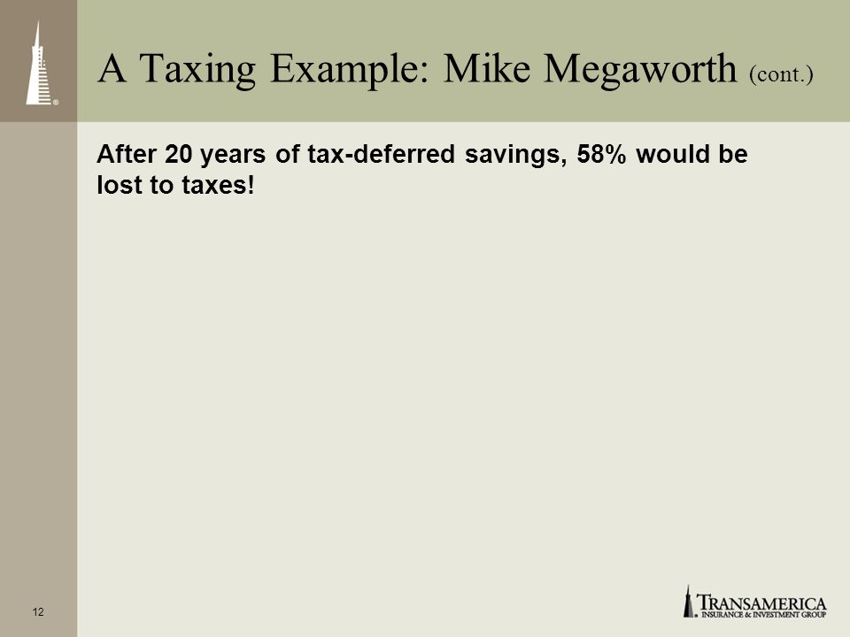 12 After 20 years of tax-deferred savings, 58% would be lost to taxes! A Taxing Example: Mike Megaworth (cont.)