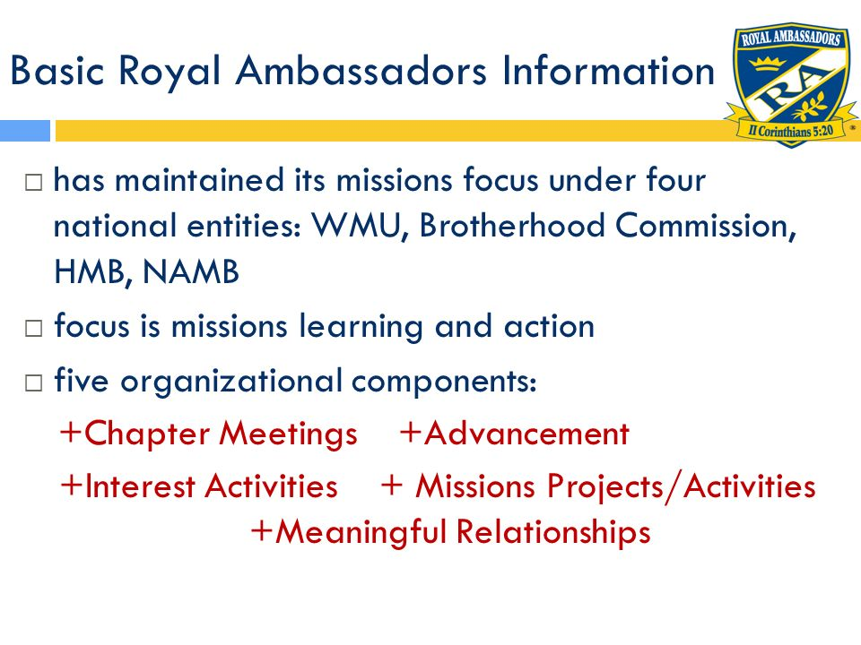 Meaningful Relationships Advocate for Royal Ambassadors.