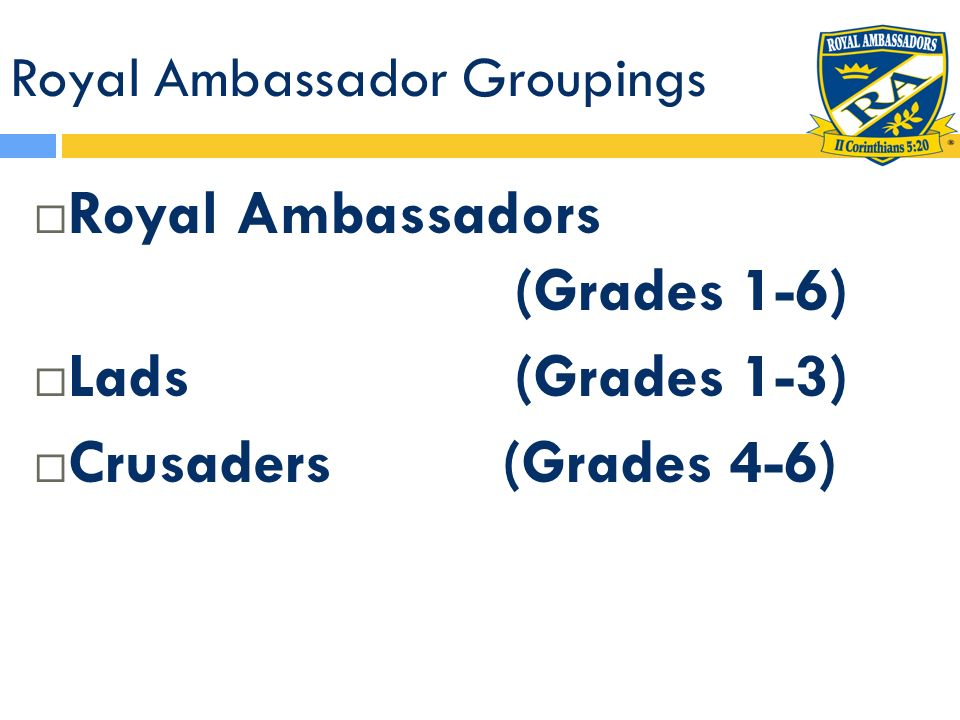 Royal Ambassador Groupings Individual grade Lad 1 RAs Lad 2 RAs Lad 3 RAs Multiple grade combinations Page 4 RAs Squire 5 RAs Knight 6 RAs