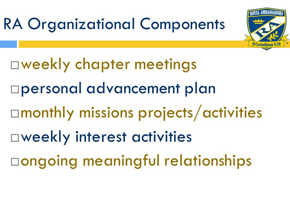 RA Organizational Components weekly chapter meetings personal advancement plan monthly missions projects/activities weekly interest activities ongoing