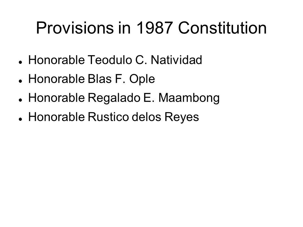 Provisions in 1987 Constitution Honorable Teodulo C. Natividad Honorable Blas F. Ople Honorable Regalado E. Maambong Honorable Rustico delos Reyes