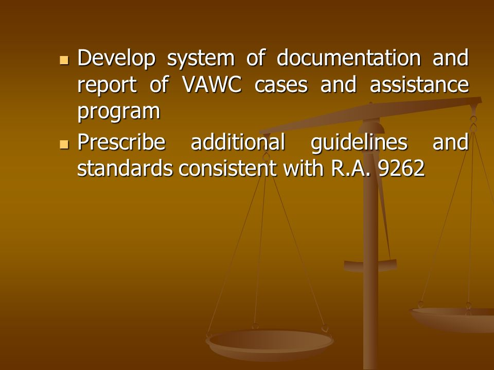 Develop system of documentation and report of VAWC cases and assistance program Develop system of documentation and report of VAWC cases and assistanc