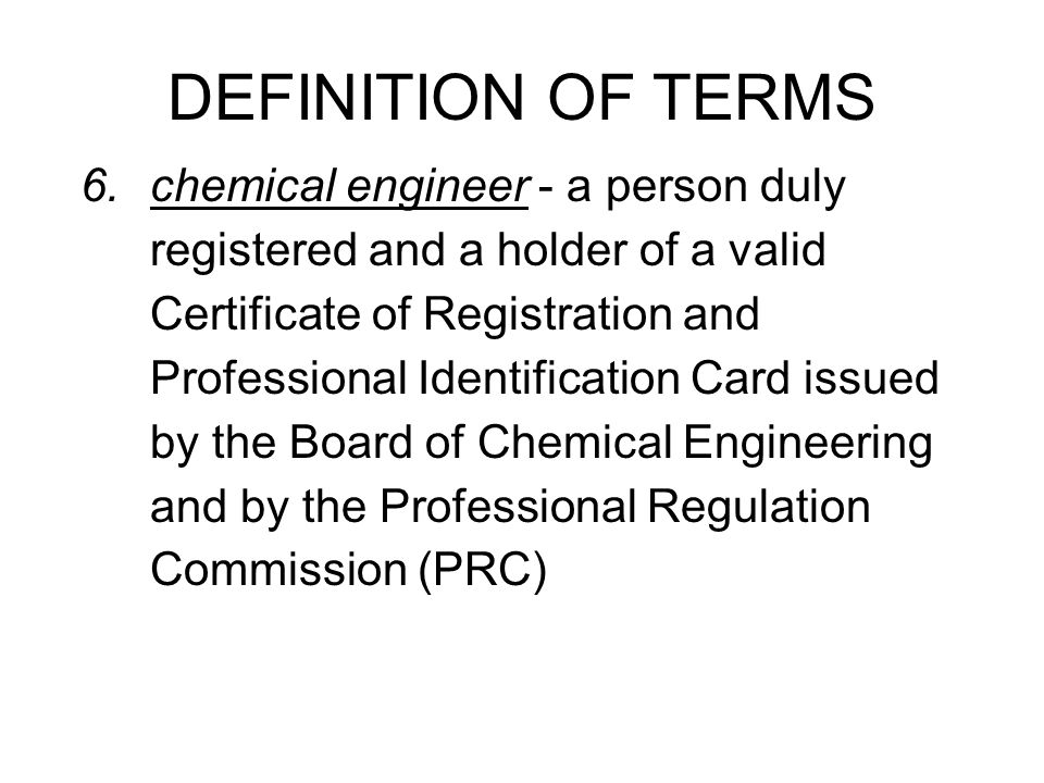 Professional chemical engineering practice shall include the following in relation to industrial plants: consultation requiring chemical engineering knowledge, skill, and proficiency investigation estimation and/or valuation planning preparation of feasibility studies SCOPE OF PRACTICE