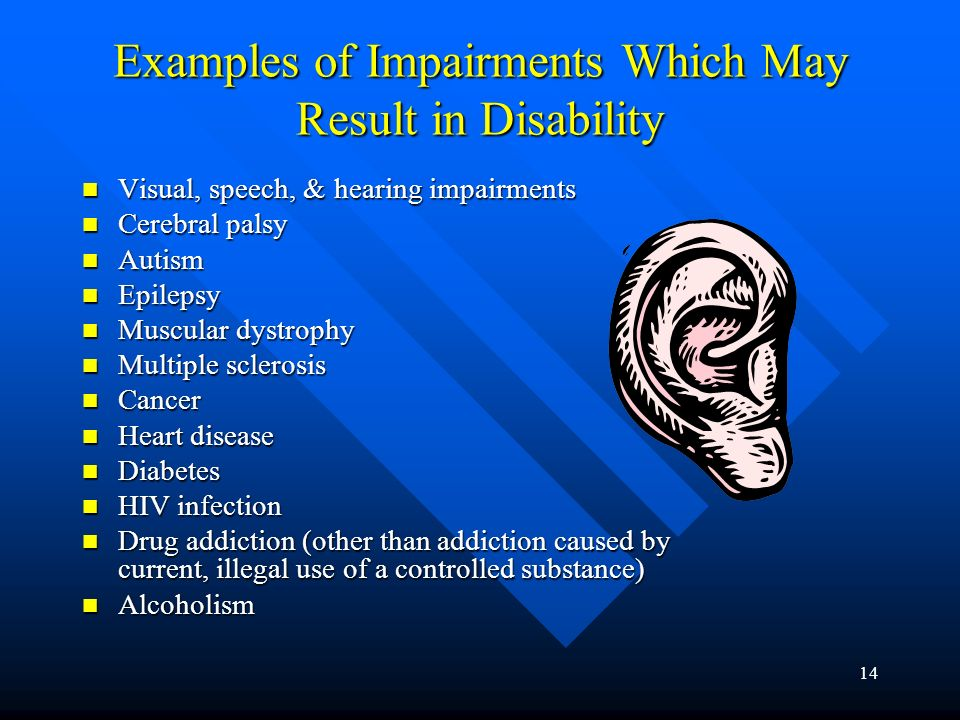 13 Mental Impairment Any mental or psychological disorder, such as mental retardation, organic brain syndrome, emotional or mental illness, and specific learning disabilities.