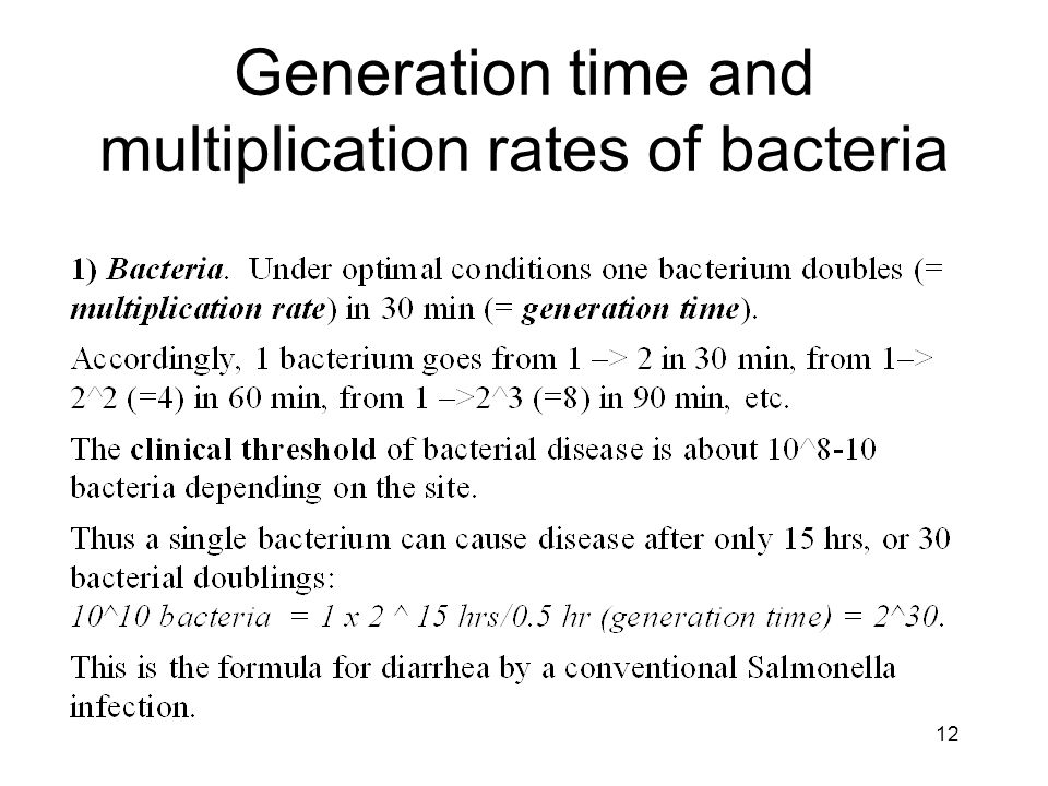 12 Generation time and multiplication rates of bacteria