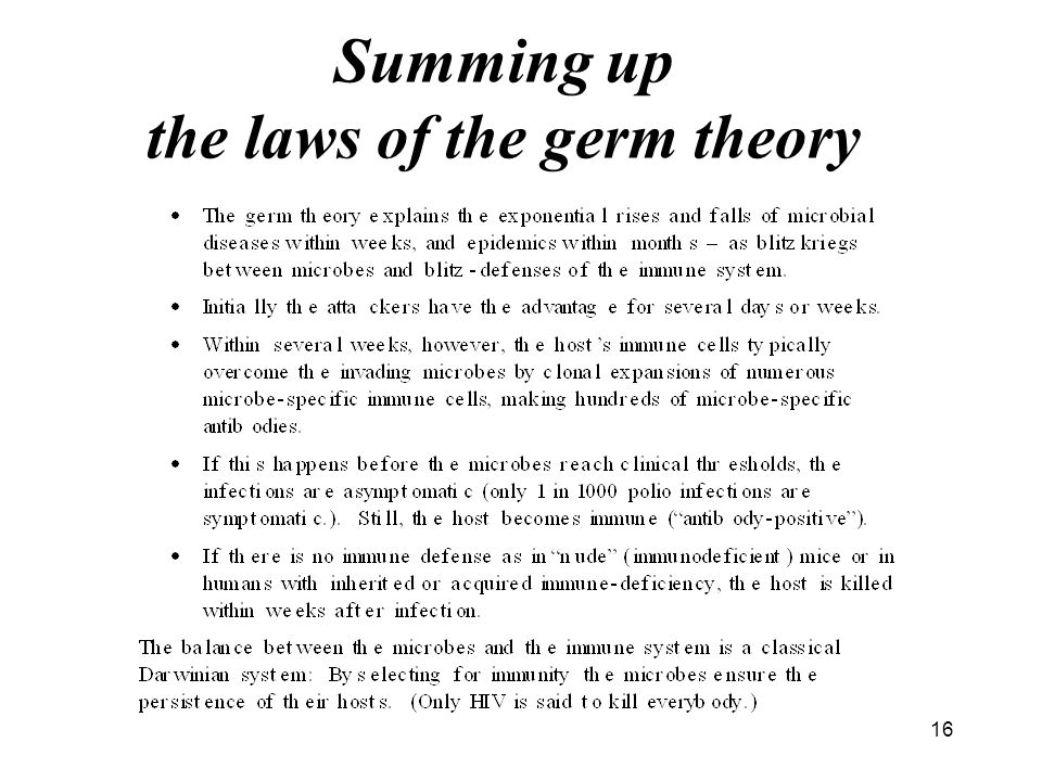 16 Summing up the laws of the germ theory
