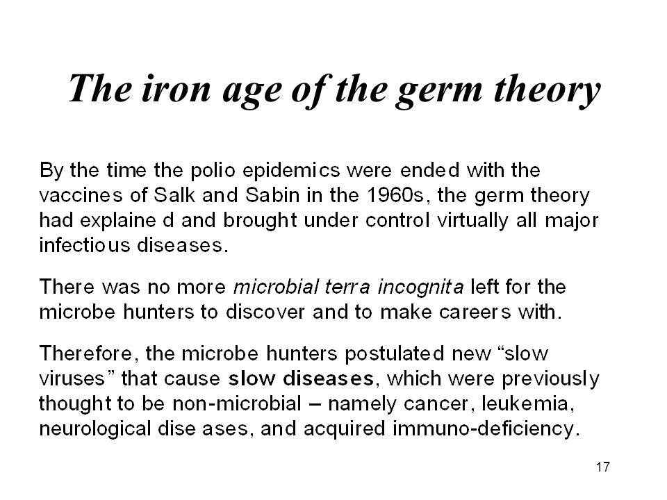 17 The iron age of the germ theory