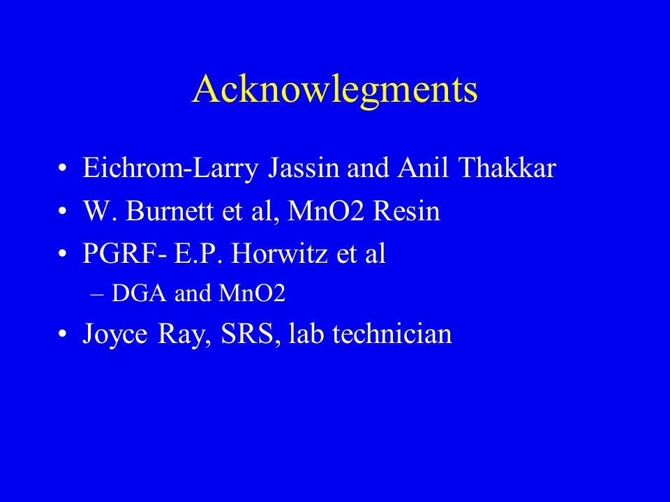 Acknowlegments Eichrom-Larry Jassin and Anil Thakkar W. Burnett et al, MnO2 Resin PGRF- E.P. Horwitz et al –DGA and MnO2 Joyce Ray, SRS, lab technicia