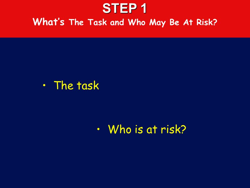 FIVE EASY STEPS TO RISK ASSESSMENTS 1.Consider the task or process and who might be at risk 2.Identify the hazards, analyse and evaluate the likelihoo