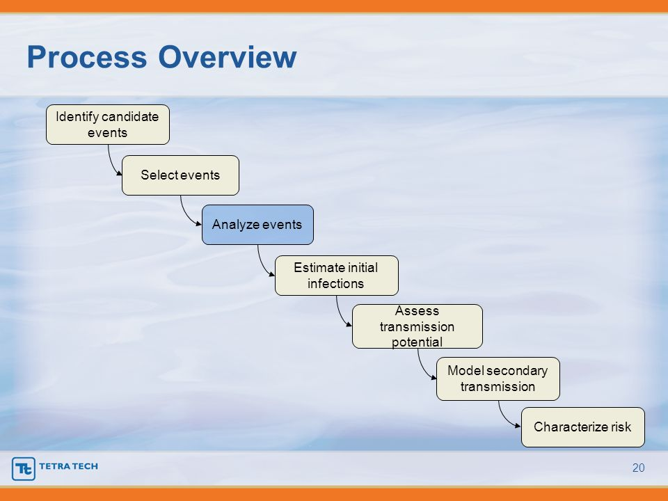 Process Overview 20 Identify candidate events Select events Analyze events Estimate initial infections Assess transmission potential Model secondary t