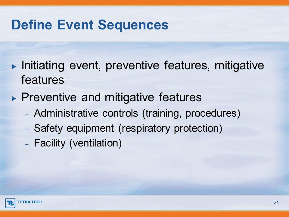 Initiating event, preventive features, mitigative features Preventive and mitigative features – Administrative controls (training, procedures) – Safet