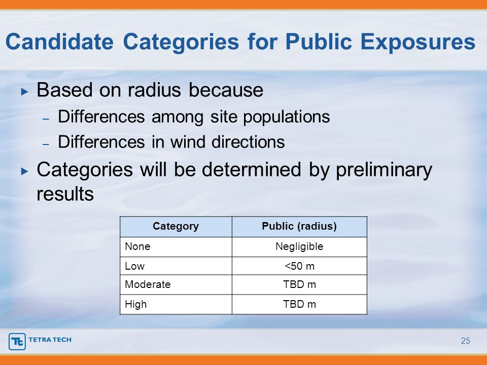 Based on radius because – Differences among site populations – Differences in wind directions Categories will be determined by preliminary results Can